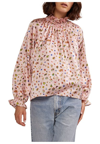 Cynthia Rowley Penny Ruffle-Sleeve Stretch Silk Blouse in pale pink multi