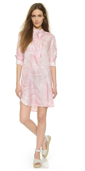 Cynthia Rowley Wrinkle print shirtdress in pale pink - A trompe l'oeil wrinkle print lends an optical effect to...
