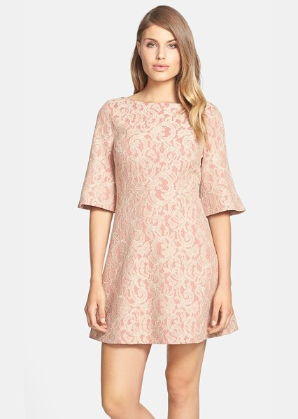 Cynthia Steffe saira bell sleeve lace a-line dress in warm beige - Swirling lace lends romantic texture to a beautifully...