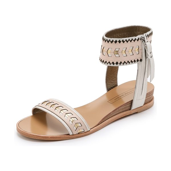 Cynthia Vincent Fayette sandals in nude combo - Metallic sections and pinked accents bring a playful...