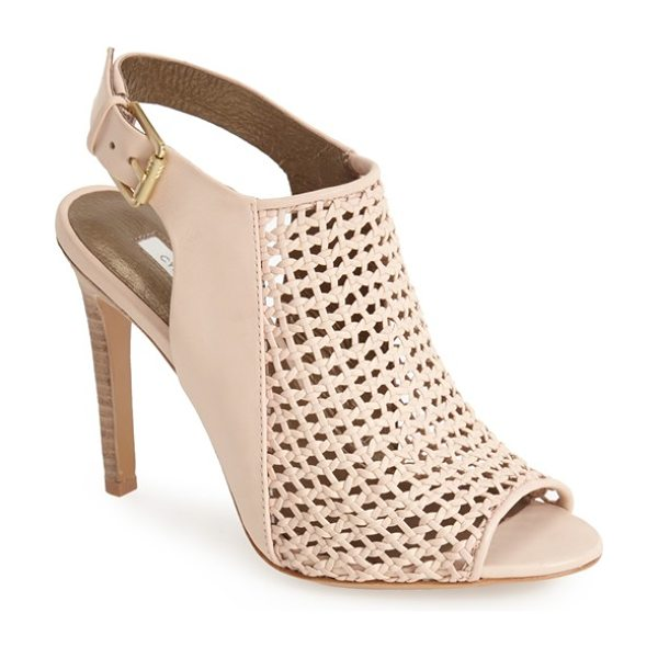 Cynthia Vincent francine basket woven leather sandal in nude - A flirty peep toe and open back perfect the summery...