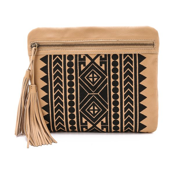 Cynthia Vincent Britt clutch in natural - An exotic woven pattern lends an eye catching look to...