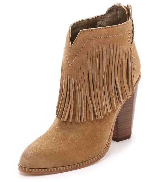 Cynthia Vincent Native suede fringe booties in tan - Fringe brings bohemian style to these suede Cynthia...