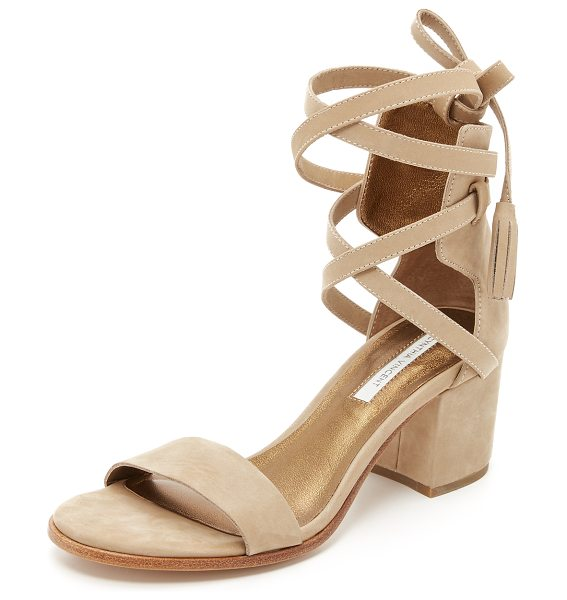 Cynthia Vincent Petunia city sandals in latte - A tasseled ankle wrap details these soft nubuck Cynthia...