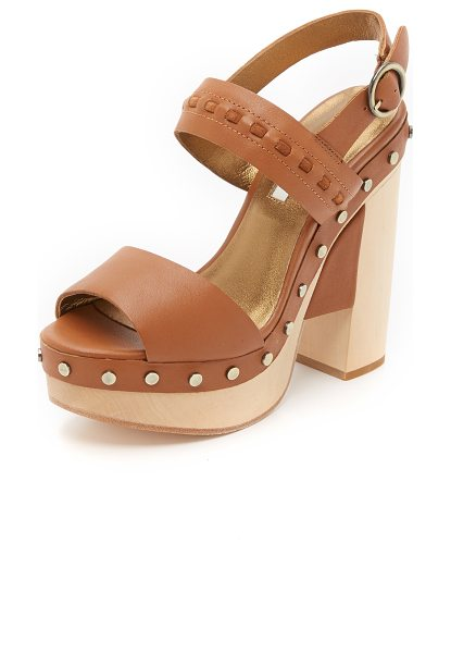 Cynthia Vincent potent clog sandals in mocha - Studs accent the wooden platform on these smooth leather...