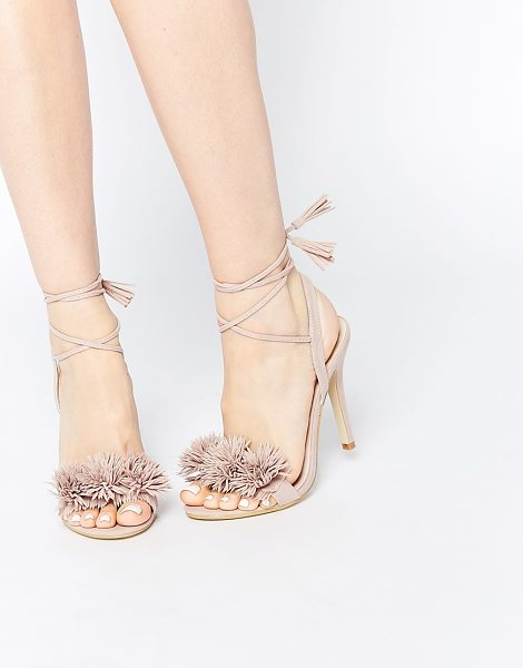 Daisy Street Blush pom ghillie lace up heeled sandals in blush - Heels by Daisy Street Suede-style upper Wraparound tie...