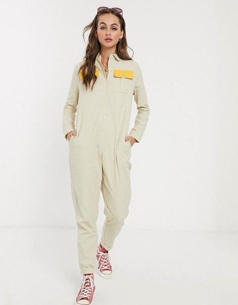 Daisy Street boilersuit with contrast pockets in beige
