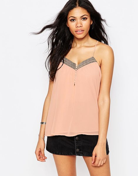 Daisy Street Cami Top With Botton Front And Metallic Trim in pink - Top by Daisy Street, Super lightweight chiffon, Fully...