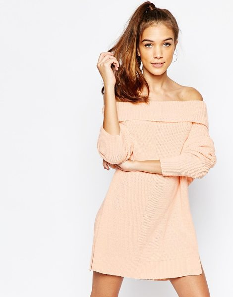Daisy Street Chunky off the shoulder roll neck sweater in pink - Sweater by Daisy Street, Chunky knit, Open weave, Off...