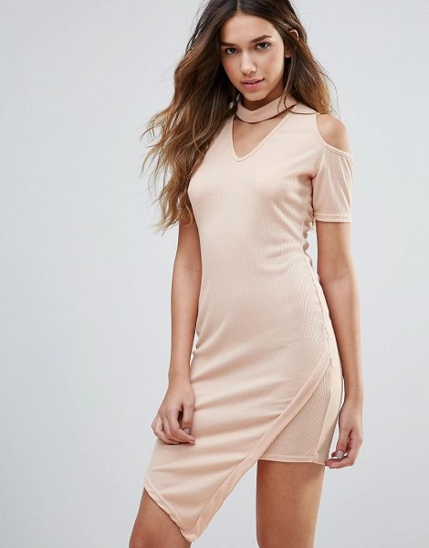 """Daisy Street Cold Shoulder Dress With Choker Neckline in cream - """"""""Dress by Daisy Street, Stretch ribbed fabric, V-neck,..."""