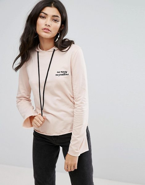 Daisy Street Cropped Lightweight Hoodie With Mo Money Mo Problems Embroidery in pink