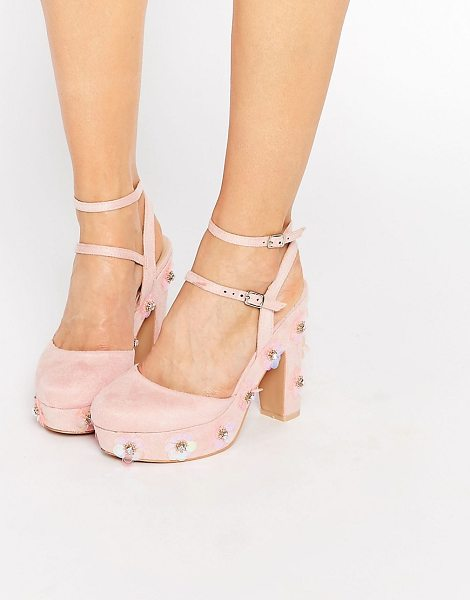 Daisy Street Floral Embellished Shoe in pink - Shoes by Daisy Street, Faux-suede upper, 3D floral...