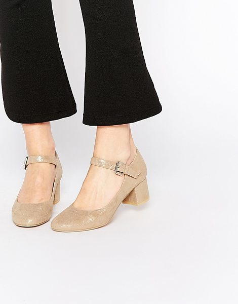 Daisy Street Gold Mary Jane Heel Shoes in gold - Shoes by Daisy Street, Smooth faux suede, Rounded toe,...