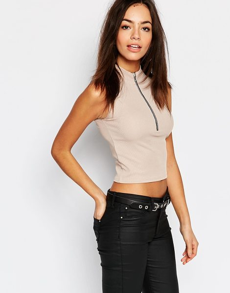 DAISY STREET High Neck Crop Top - Top by Daisy Street, Ribbed jersey, High neckline,...
