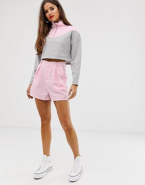 Daisy Street high waist gingham shorts in pinkgingham