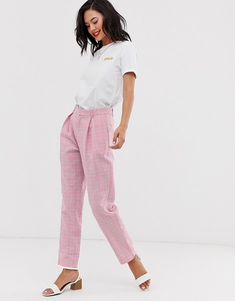 Daisy Street high waist tapered pants in check in pinkcheck