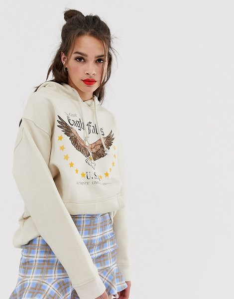 Daisy Street hoodie with eagle graphics-cream in cream