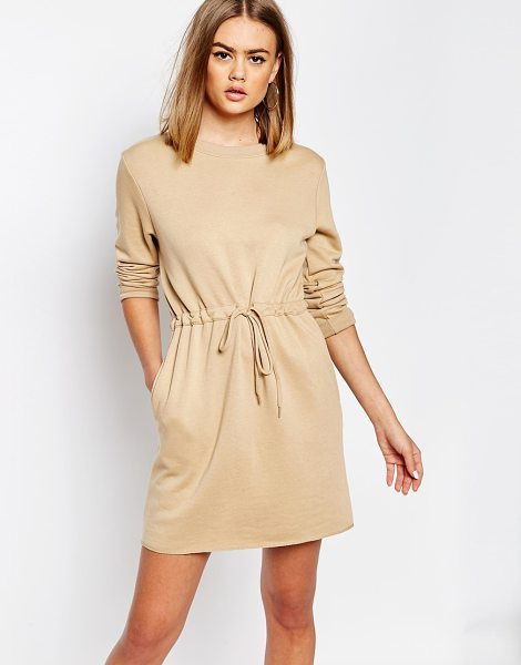 Daisy Street Long sleeve sweater dress with draw string waist in tan - Dress by Daisy Street Cotton-mix fabric Crew neckline...