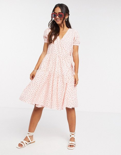 Daisy Street midi wrap dress with tiered skirt in pretty floral-pink in pink