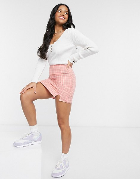 Daisy Street mini skirt in coral plaid-pink in pink