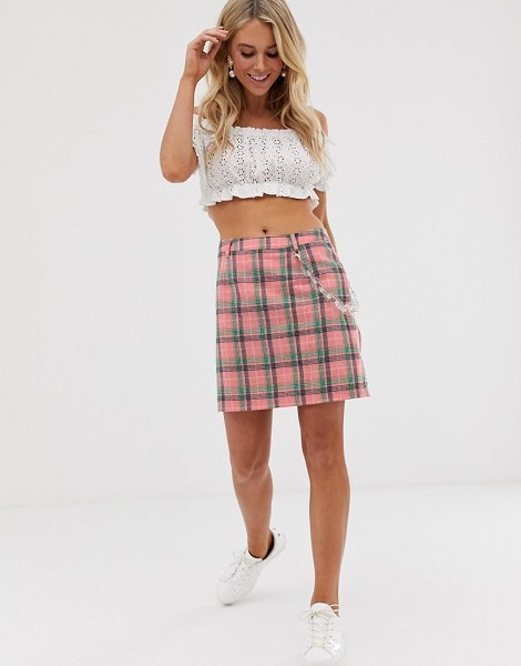 Daisy Street mini skirt with clear chain in check-pink in pink