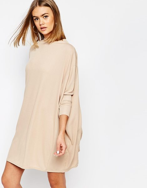 Daisy Street Oversized cape dress in sand - Dress by Daisy Street, Ribbed fabric, High neckline,...