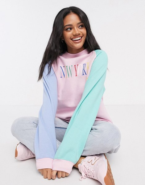 Daisy Street oversized color-block raglan sweatshirt with vintage 'new york' print-pink in pink