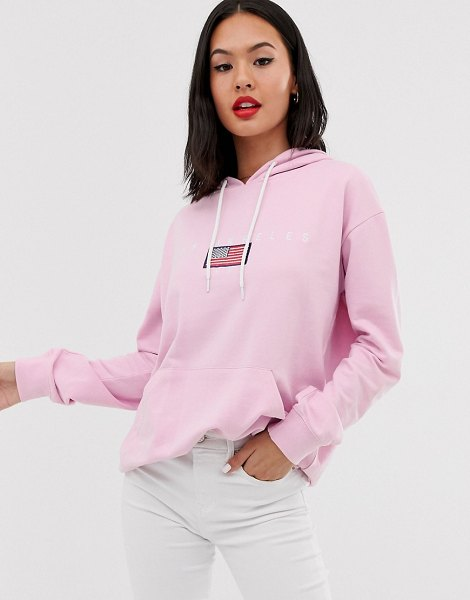 Daisy Street oversized hoodie with la graphics-pink in pink
