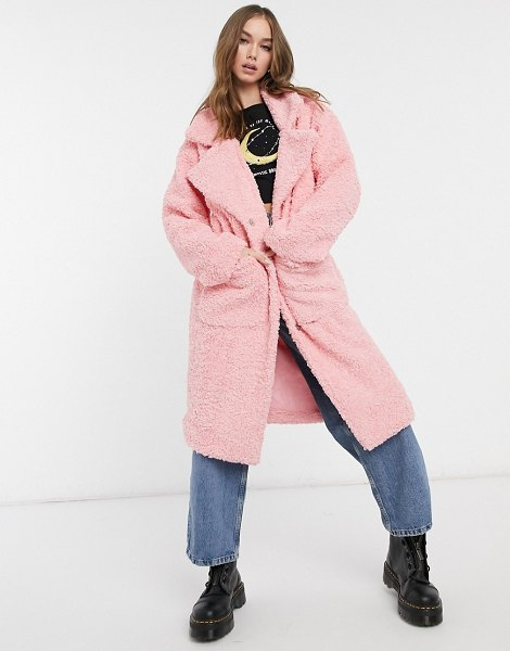 Daisy Street oversized longline coat in teddy fleece-pink in pink