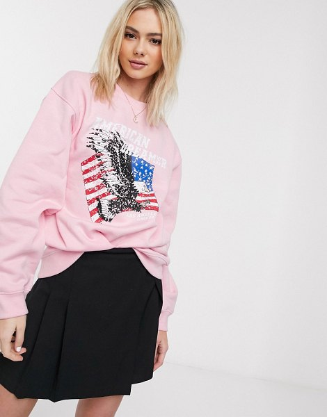 Daisy Street oversized sweatshirt with american dreamer print-pink in pink