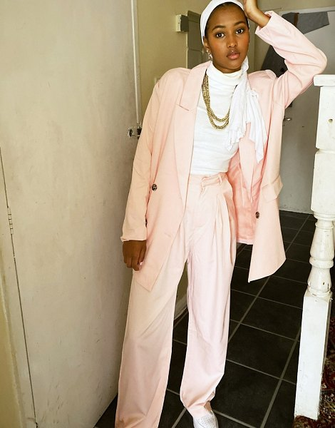Daisy Street relaxed wide leg pants with pleat front-pink in pink
