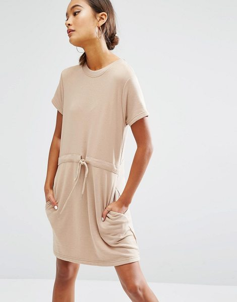 Daisy Street Short Sleeve Sweater Dress With Draw String Waist in tan - Dress by Daisy Street, Sweat fabric, Crew neckline,...