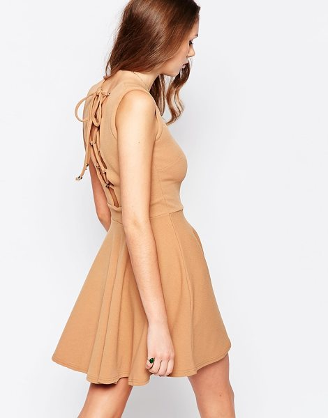 DAISY STREET Skater dress with lace up back in camel - Casual dress by Daisy Street Lightweight crepe Added...