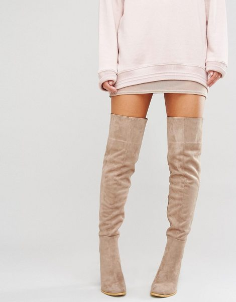 """Daisy Street Taupe Heeled Over The Knee Boots in beige - """"""""Boots by Daisy Street, Textile upper, Side zip..."""