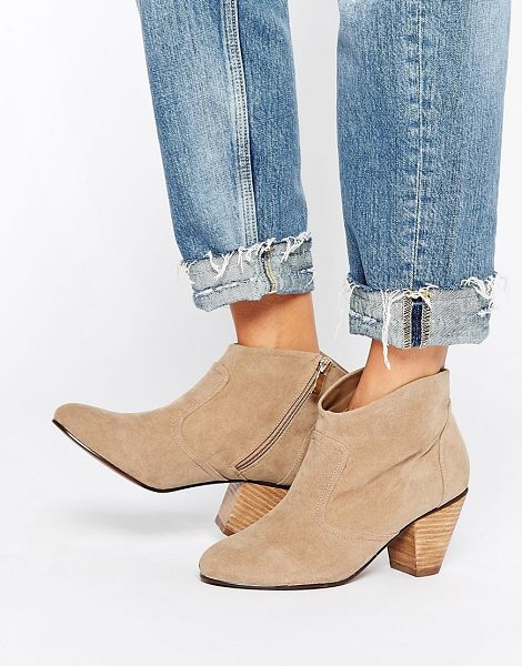 Daisy Street Taupe Western Style Heeled Boots in beige - Boots by Daisy Street, Suede-style upper, Zip closure,...