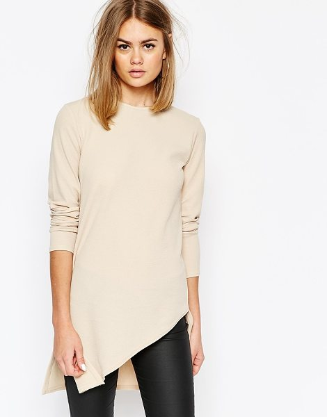 Daisy Street Tunic Top with Assymetric Hem in beige - Top by Daisy Street, Stretch jersey, Slash neckline,...