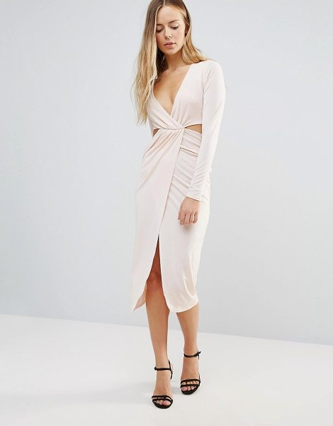 Daisy Street Wrap Front Dress With Cut Out Sides in beige - Dress by Daisy Street, Smooth stretch fabric, Plunge...