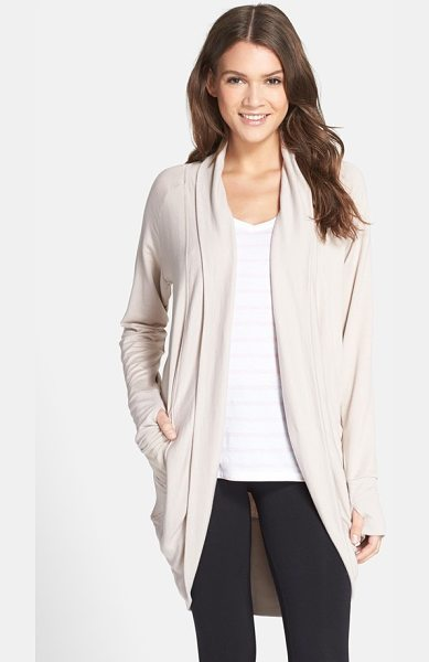 Daniel Buchler Daniel bucher shawl collar cardigan in desert - A ribbed shawl collar sweeps back to the draped back...