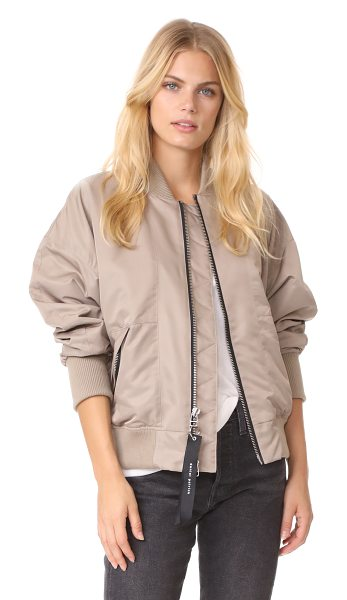 Daniel Patrick heroine bomber ii jacket in wheat - This loose Daniel Patrick bomber jacket is trimmed with...