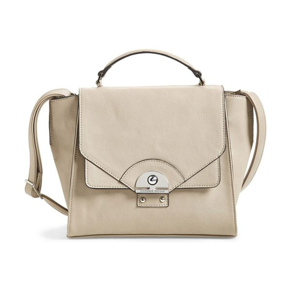 Danielle Nicole Brooklynne satchel in taupe - Wide gussets and gleaming metallic hardware complement...