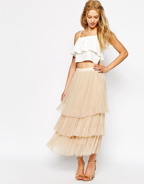 Darccy Boho tulle layered maxi skirt in cream - Maxi skirt by Darccy Tiered tulle Fully lined Mid-rise,...