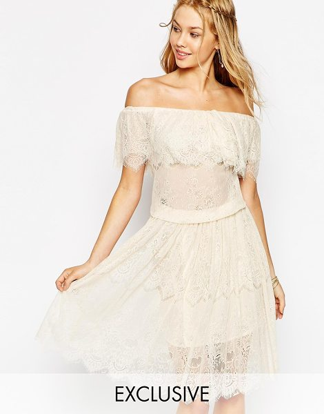 Darccy Vintage boho lace off shoulder midi dress in nude - Midi dress by Darccy Semi-sheer lace Unlined top...