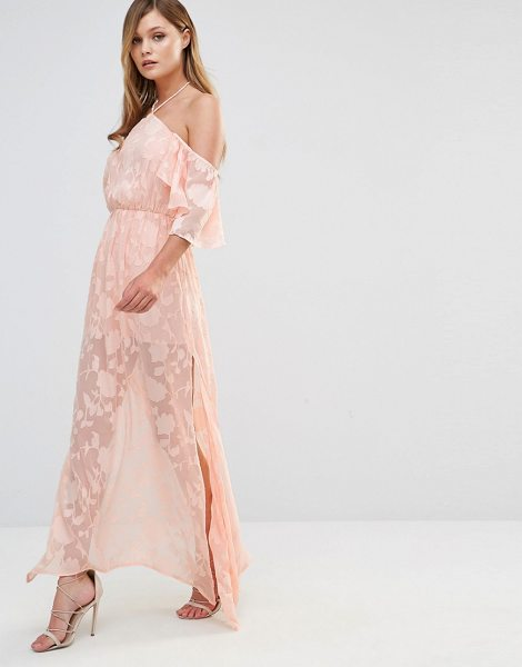 """Dark Pink Cold Shoulder Frill Maxi Dress in pink - """"""""Maxi dress by Dark Pink, Semi-sheer embroidered..."""