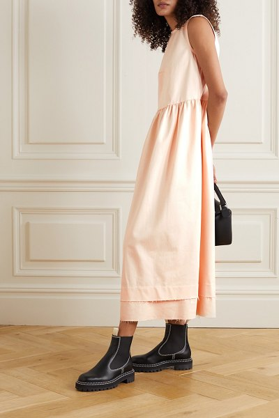 DAUGHTER &frayed cotton-blend twill maxi dress in cream
