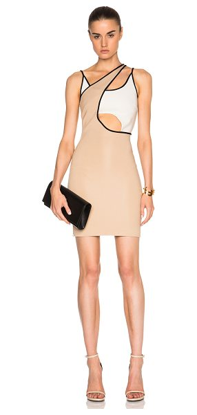 David Koma Asymmetric cut out contrast mini dress in neutrals - 86% viscose 10% polyamide 4% elastan.  Made in UK. ...