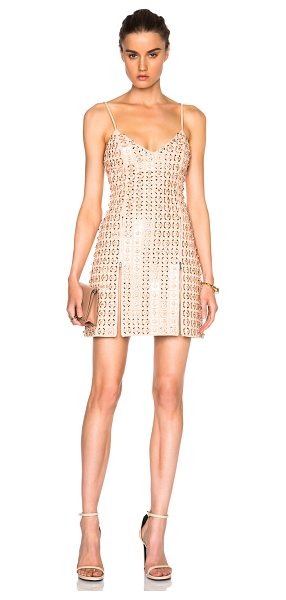 DAVID KOMA Embroidered V Neck Dress - Self: 52% acetate 45% viscose 3% elastan - Contrast...