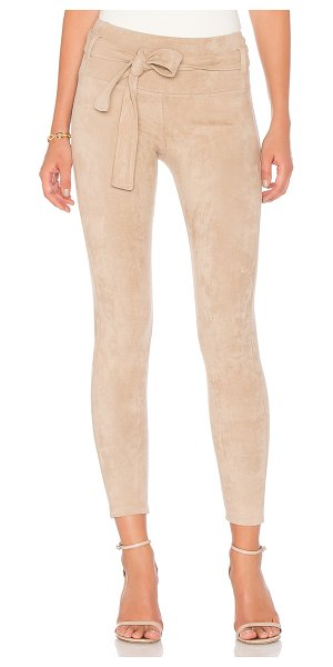 David Lerner Belted Suede Legging in nude - Poly blend. Dry clean only. Stretch fit. Belted waist...