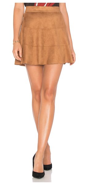"""David Lerner Waverly Suede Skirt in brown - """"Poly blend. Dry clean only. Unlined. Hidden back zipper..."""
