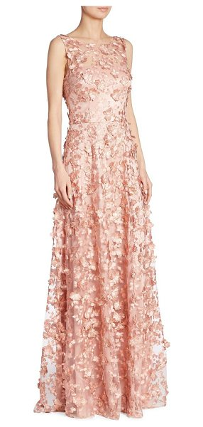 David Meister appliqued a-line gown in pink - Floral appliques adorn feminine A-line gown. Boatneck....