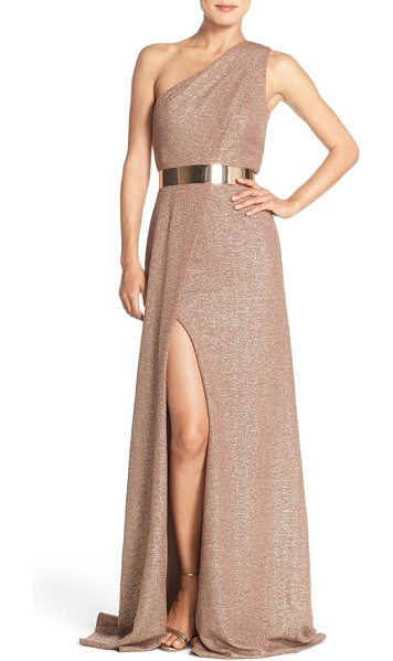 David Meister belted metallic knit gown in taupe - Glittering rose-gold fabric flows with the asymmetrical...